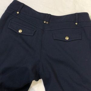 CACHE - Size 6 Navy stretchy knit bell leg pants
